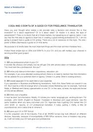 Case Worker Resume 5 Dos And 5 Don U0027ts Of A Good Cv For Freelance Translator