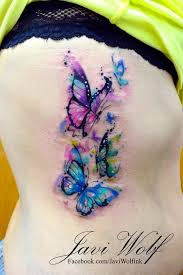 watercolor butterflies tattooed by javiwolfink javiwolf com