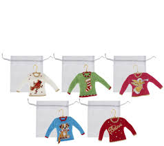quacker factory set of 5 sweater ornaments page 1 qvc
