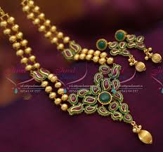 bead jewelry necklace designs images Nl2645 kempu gold design spinel ruby emerald beaded jewellery JPG