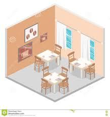 restaurant concept design isometric interior of coffee shop flat 3d isometric design