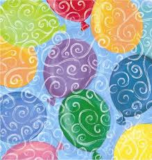 birthday gift wrap colorful balloons and swirls against a pretty light blue