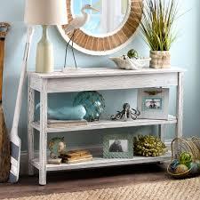vintage style console table whitewash double shelf console table seaside style console tables