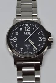 fs oris bc3 advanced day date black bezel with bracelet 575 lnib