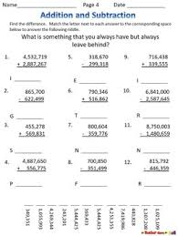 subtraction worksheets w riddles grades 4 5 to the millions place