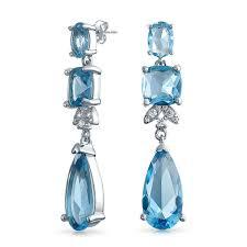 blue chandelier earrings blue topaz color cz square teardrop cz bridal chandelier earrings