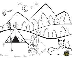 camping colouring mountains tent fox u2013 authentic