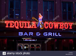 tequilla cowboy sign on lower broadway nashville tennessee stock