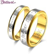 wedding rings couple images Fashion stainless steel gold color forever love couple engagement jpeg