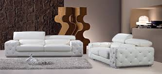casa corinne modern tufted leather sofa set with headrests and