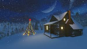 christmas night scenery christmas tree cabin decorated