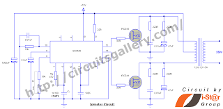 12v to 230v inverter circuit schematic using pulse width modulator