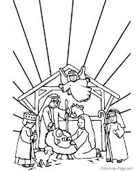 christian coloring manger scene