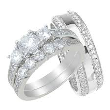 Wedding Rings His And Hers by His And Her Three Stone Trio Wedding Rings Set Sterling Silver