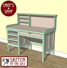 Student Desk Woodworking Plans by Sketch Of The Day Study Desk Woodworking Chief U0027s Shop