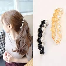 banana clip hair orange black beautiful simulated pearls hairpins hair jewelry