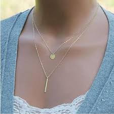 boho gold pendant necklace images Double layer simple chain bar necklace gold pendant long strip jpg