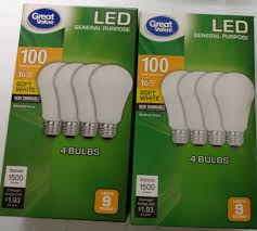 Great Value LED Light Bulb 100w 75w Equivalent Soft White A19