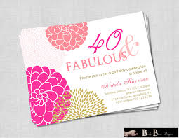 50th Birthday Invitation Cards 40 And Fabulous 40th Or 50th Birthday Invitation Pink U0026 Gold