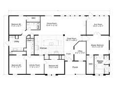 single story 4 bedroom house plans ranch house floor plans 4 bedroom this simple no watered