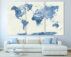 Canvas Map Of The World by Navy Blue Watercolor World Map Print At Texelprintart Com