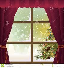 christmas scene through a window stock vector image 47952221