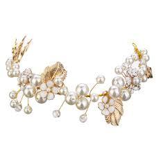luxury hair accessories luxury pearl bead hair chain wedding bridal tiara