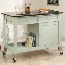 furniture white movable kitchen island with slate top and shelf