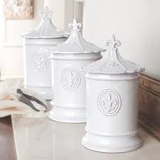 mud pie fleur de lis kitchen 3 canister set white sugar flour