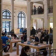 paris apple store people inside apple store in paris stock editorial photo pio3
