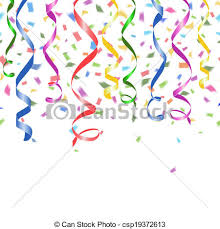 new years streamers vector clip of colorful confetti and twirled party streamers