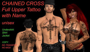 second life marketplace tattoo chained cross personalized with