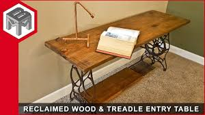 reclaimed wood entry table reclaimed barn wood entry table metal woodworking how to youtube