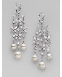 Butterfly Chandelier Majorica 10mm 12mm White Round Pearl Butterfly Chandelier Earrings