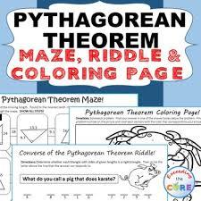 pythagorean theorem maze riddle u0026 coloring page fun math