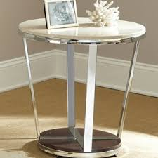 cream round end table bosco round end table cream top chrome wood base dcg stores