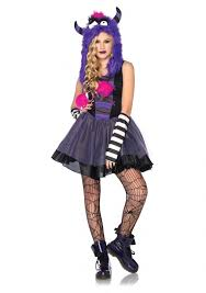 Halloween Costume Tween Girls Teen Girls Punk Monster Dress Furry Hood Kids Juniors