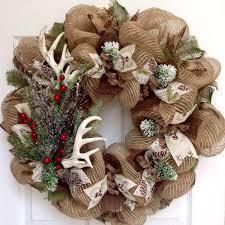 deer antlers wreath with iced greenery handmade deco mesh