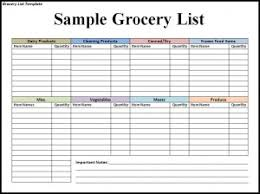 Shopping List Template Excel Free Grocery List Template Word Excel Formats