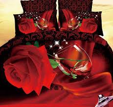 copriletti romantici 3d rosa rossa copripiumino biancheria da letto set copriletti