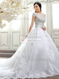 Chapel Train Wedding Dresses Ball Gown Cap Sleeves Chapel Train Lace Bowknot Wedding Dresses