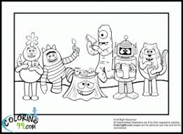 yo gabba gabba coloring pages team colors coloring