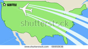 seattle map usa simplified vector map usa airplane inflight stock vector 68950636