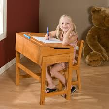 Toddler Desk Set Schoolhouse Desk And Chair Set Pecan Hayneedle