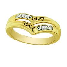 wedding rings with names s ring in sterling silver with k gold plate names zales