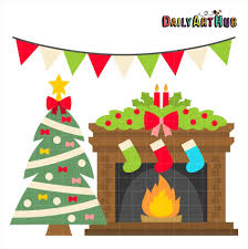 christmas fireplace clipart cheminee website