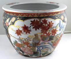 oriental fish bowl planter flower pot jardiniere 12 vtg what u0027s