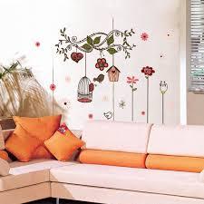 beautiful flowers cartoon bird cage vine diy wall stickers sales