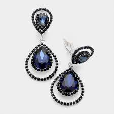 clip on earrings australia pave framed pear drop clip earrings navy clip on