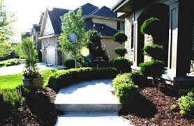 landscape green front yard landscaping with stone walkway